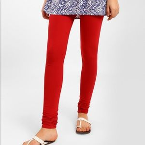 Red Leggings With Tie Up Waist Band- XL